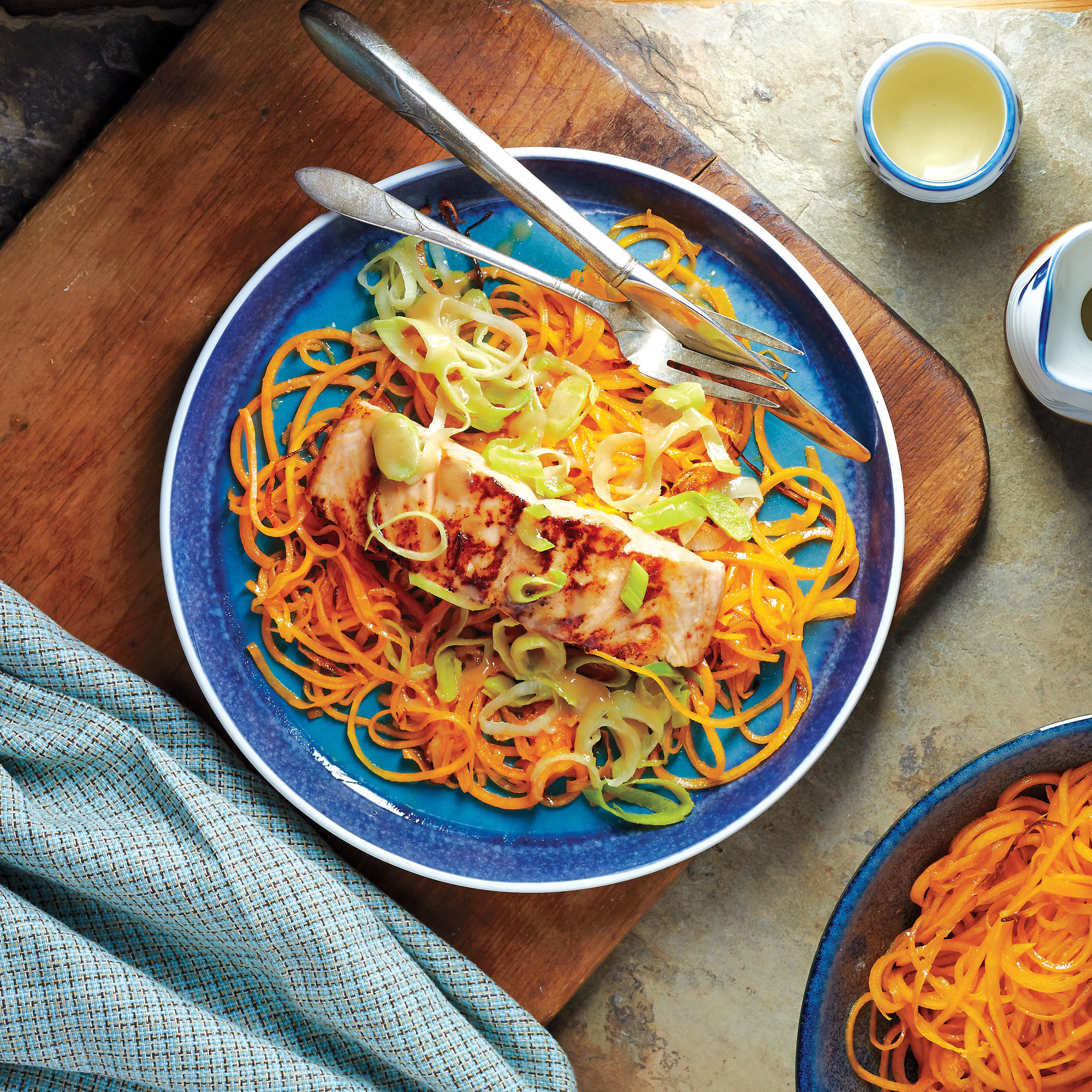 Winter Squash Noodles With Miso-Glazed Salmon and Leeks ...