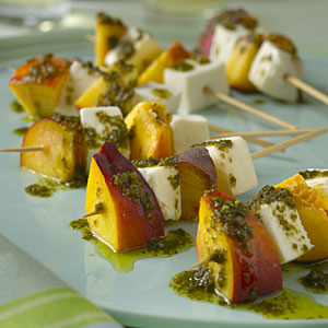 cheese-fruit skewers