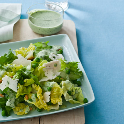 Butter Lettuce and Escarole Salad with Green Goddess Dressing