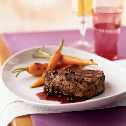 Filet Mignon with Red Currant-Green Peppercorn Sauce