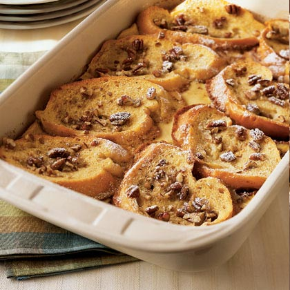 Strawberry-Filled French Toast with Caramel and Pecans