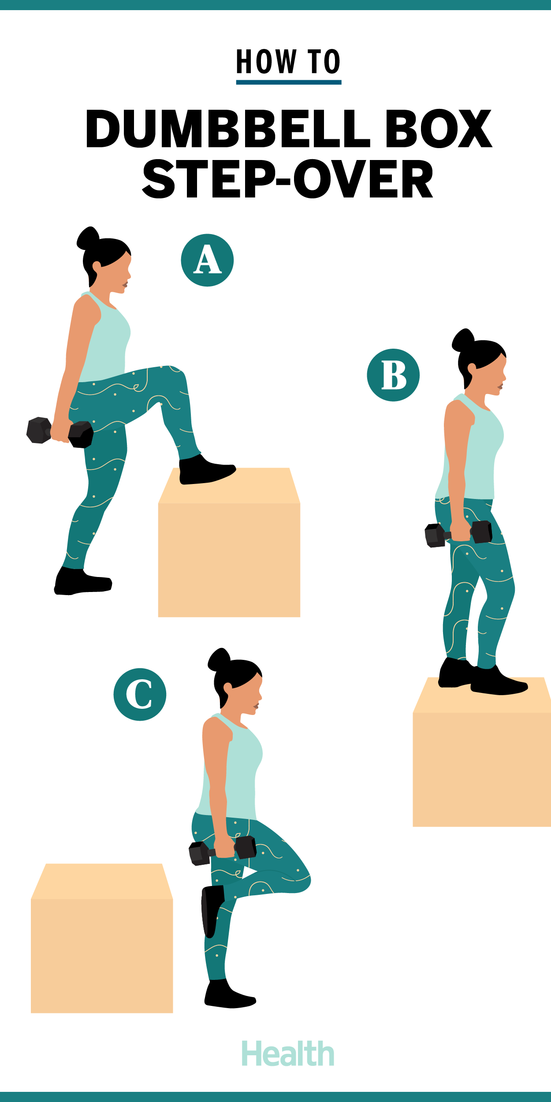 Dumbbell Box Step-Overs Will Give You Your Tightest Butt Ever