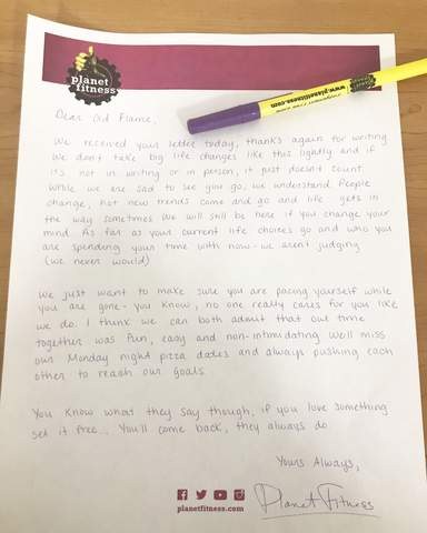 Man Writes Breakup Letter To Planet Fitness When He Moves Away Health