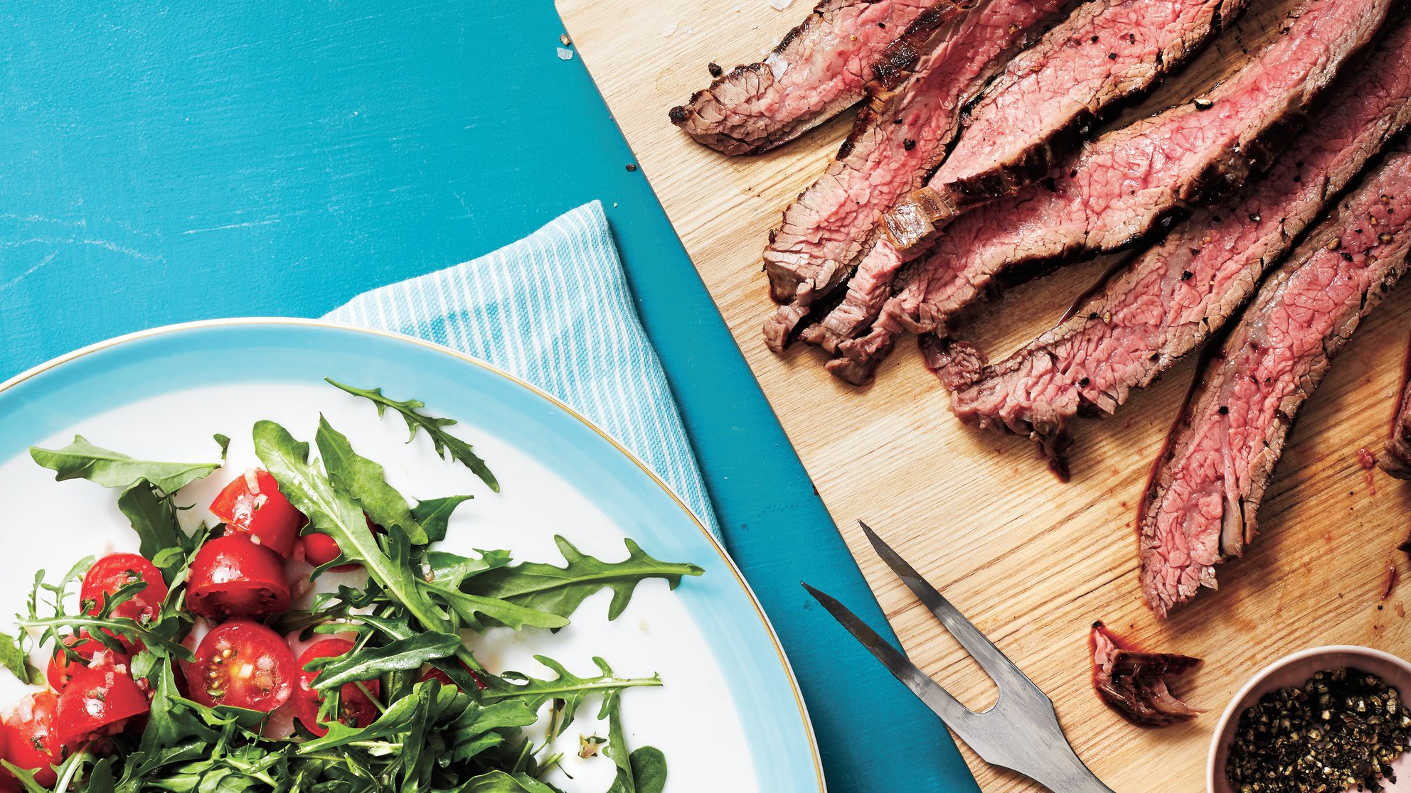 flank-steak-arugula-herbed-tomato-salad