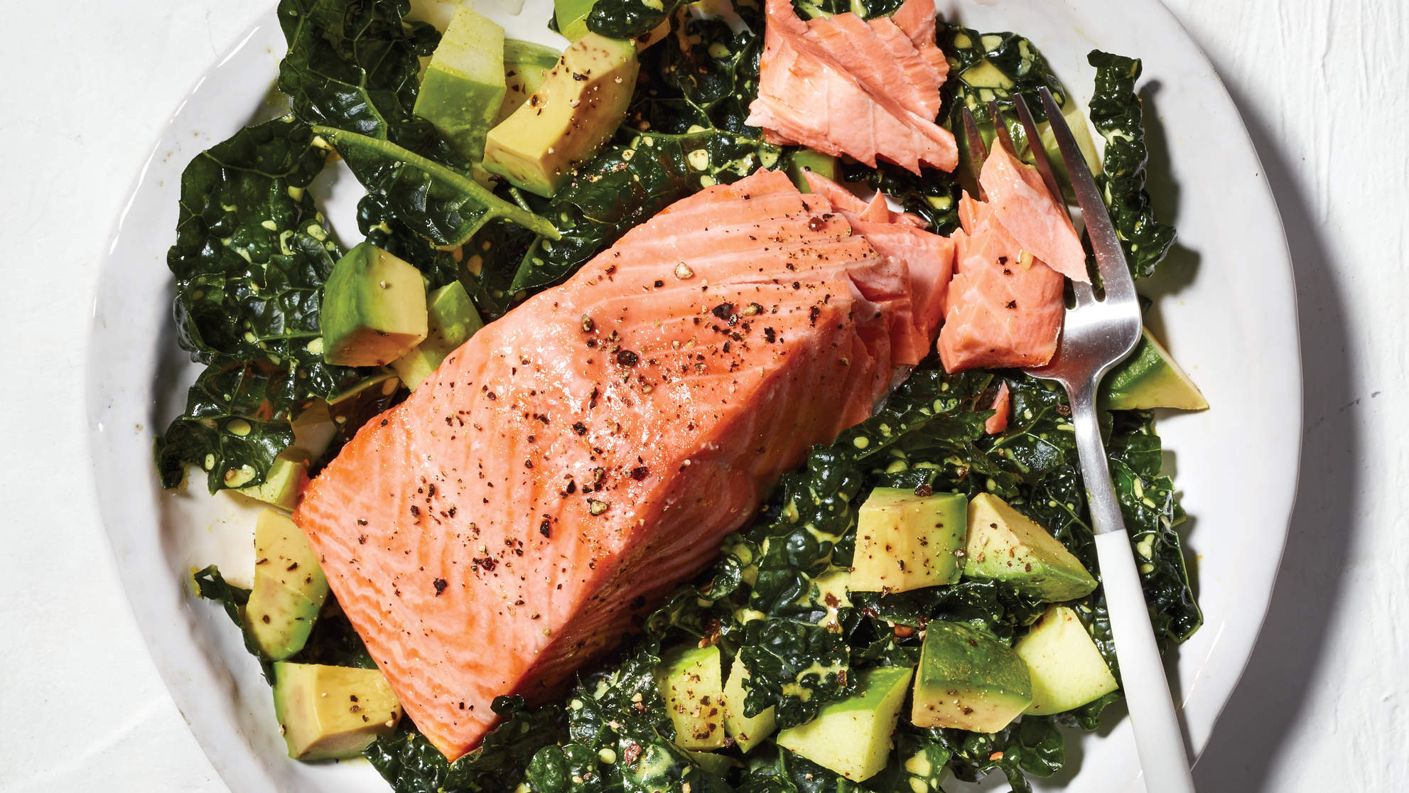 Kale Salad With Poached Salmon, Apple, and Avocado Recipe - Health