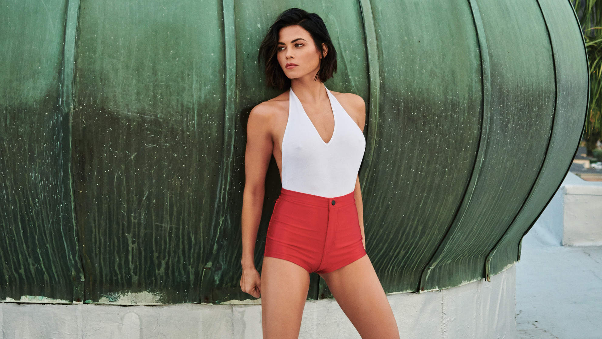 jenna dewan tatum full length red high waisted shorts