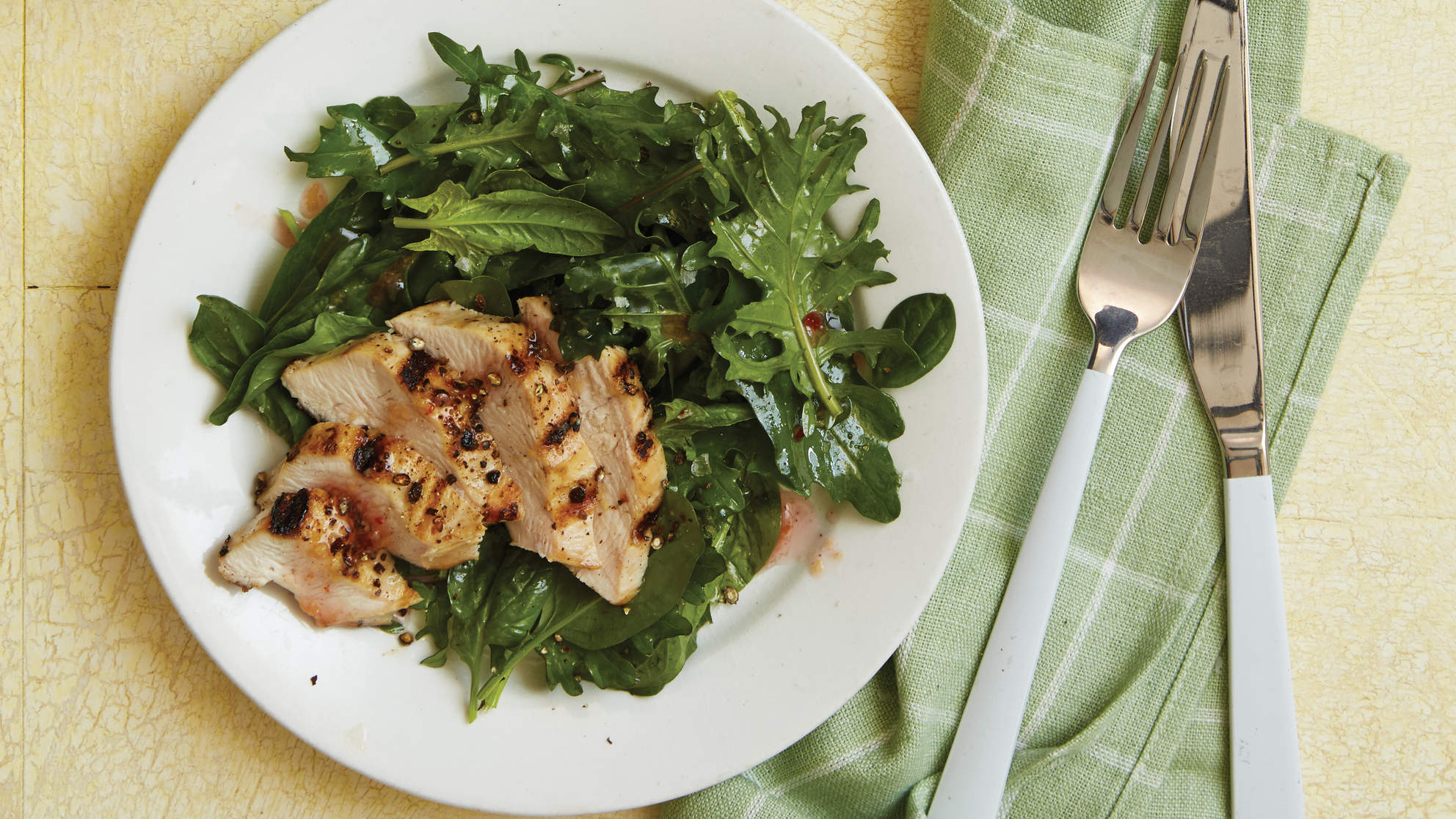 Chicken Kale Salad with Fresh Ginger Dressing
