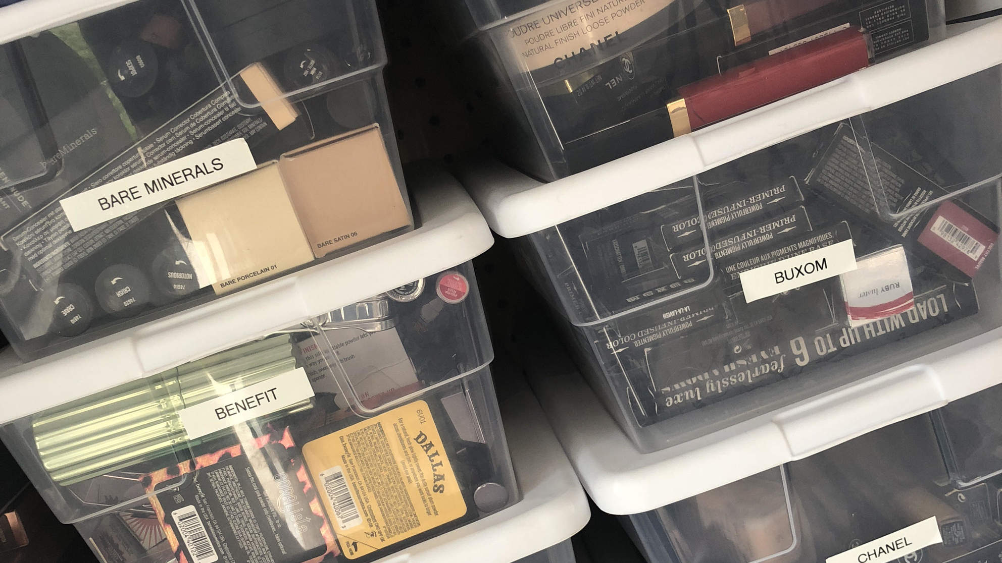 Clear labeled boxes