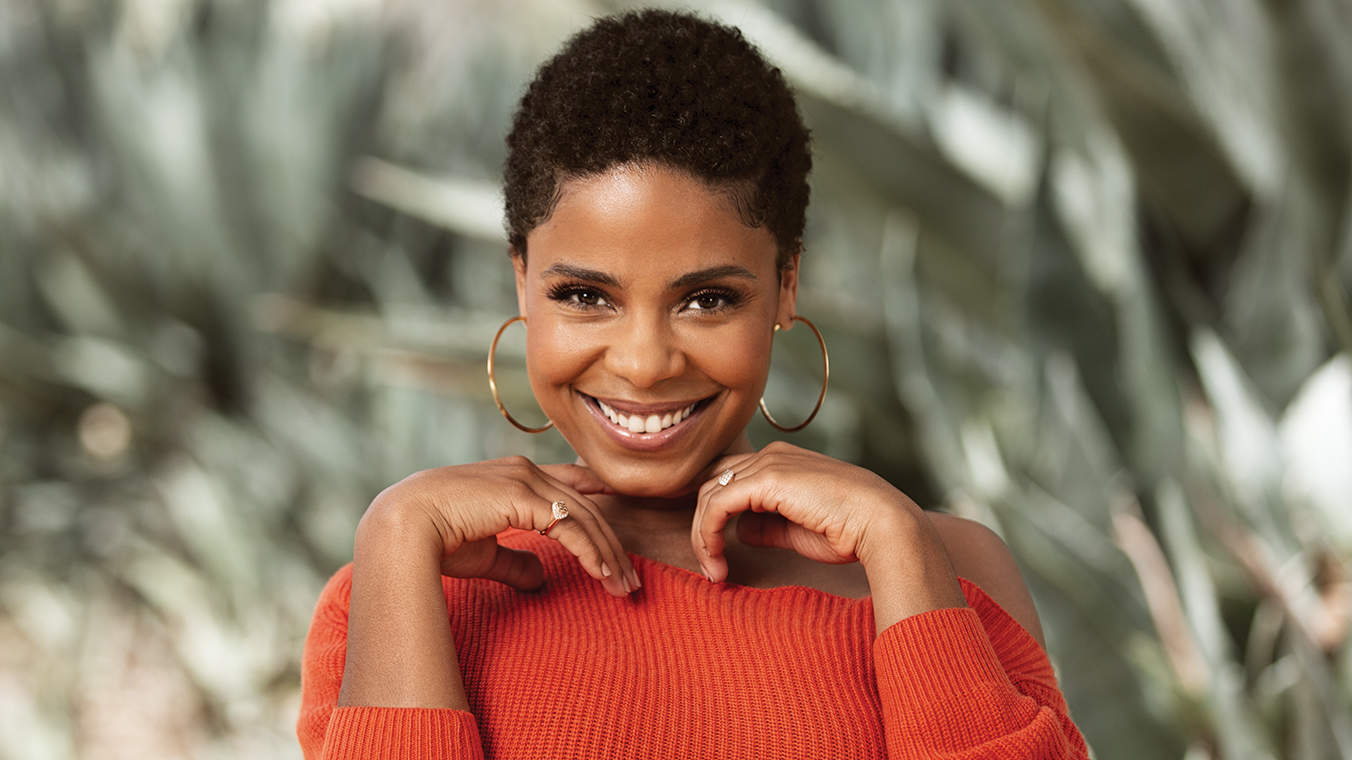 sanna-lathan-orange-hoop-earrings