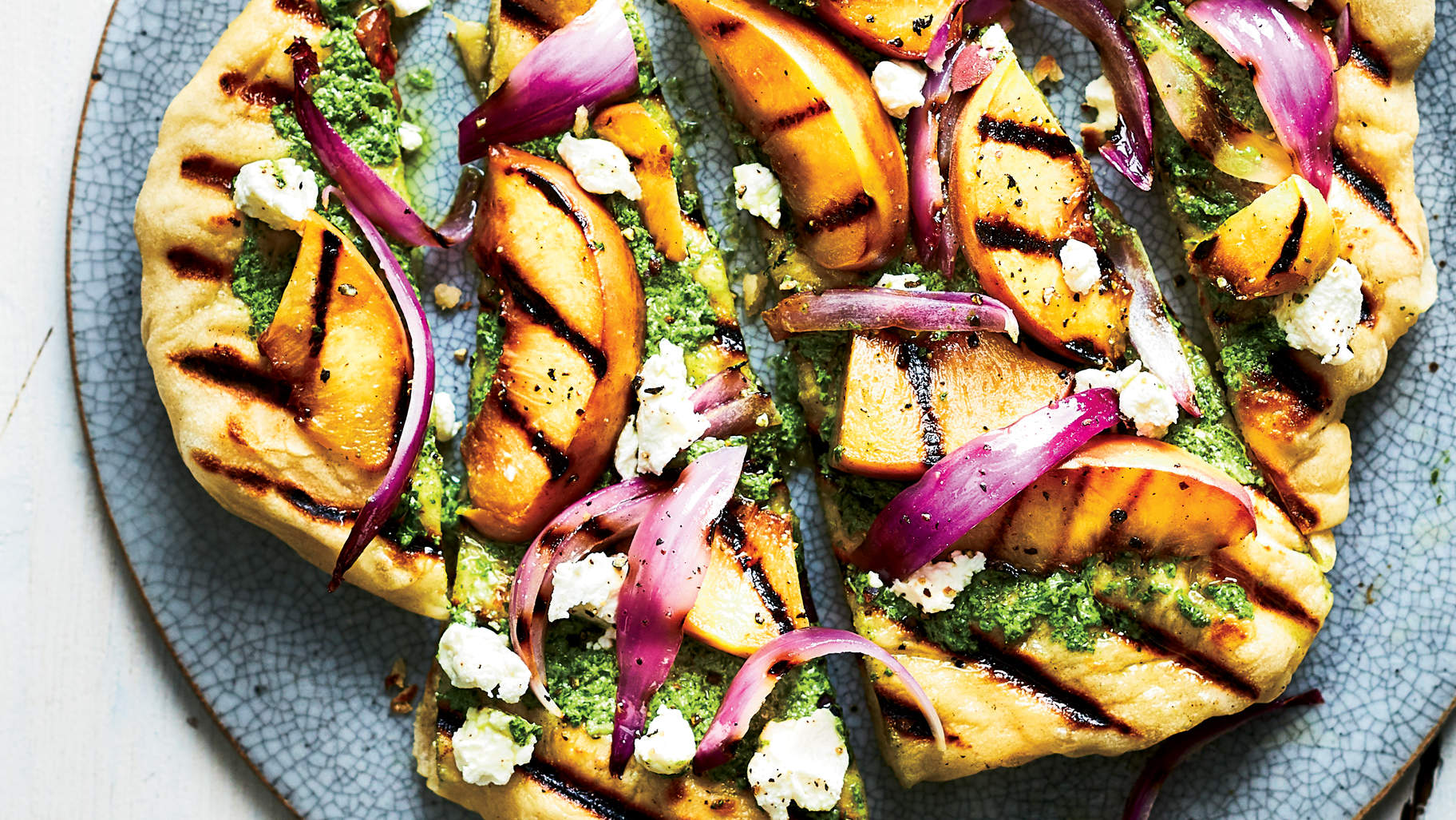 grilled-peach-goat-cheese-flatbread-5-ingredient