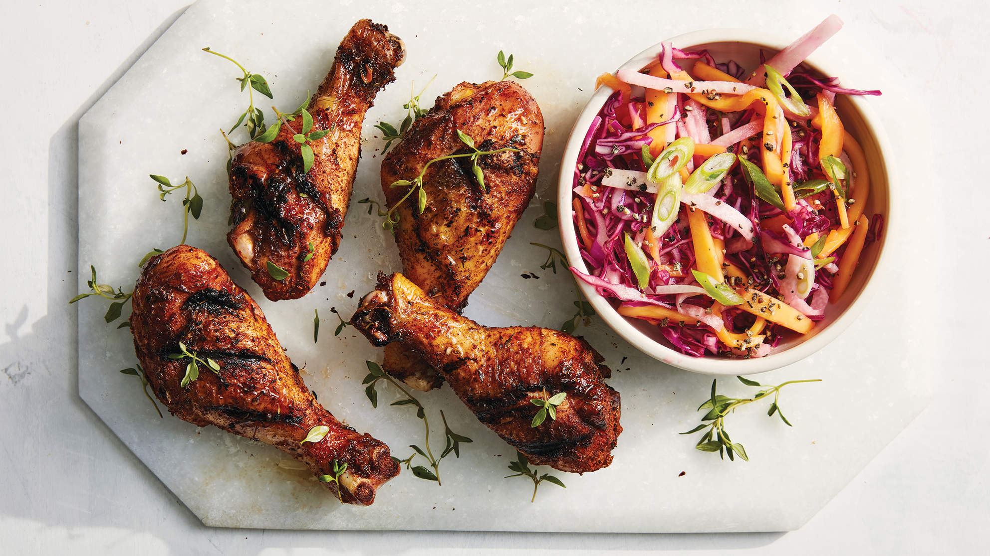 Jerk Chicken Drumsticks with Mango Jicama Sauce