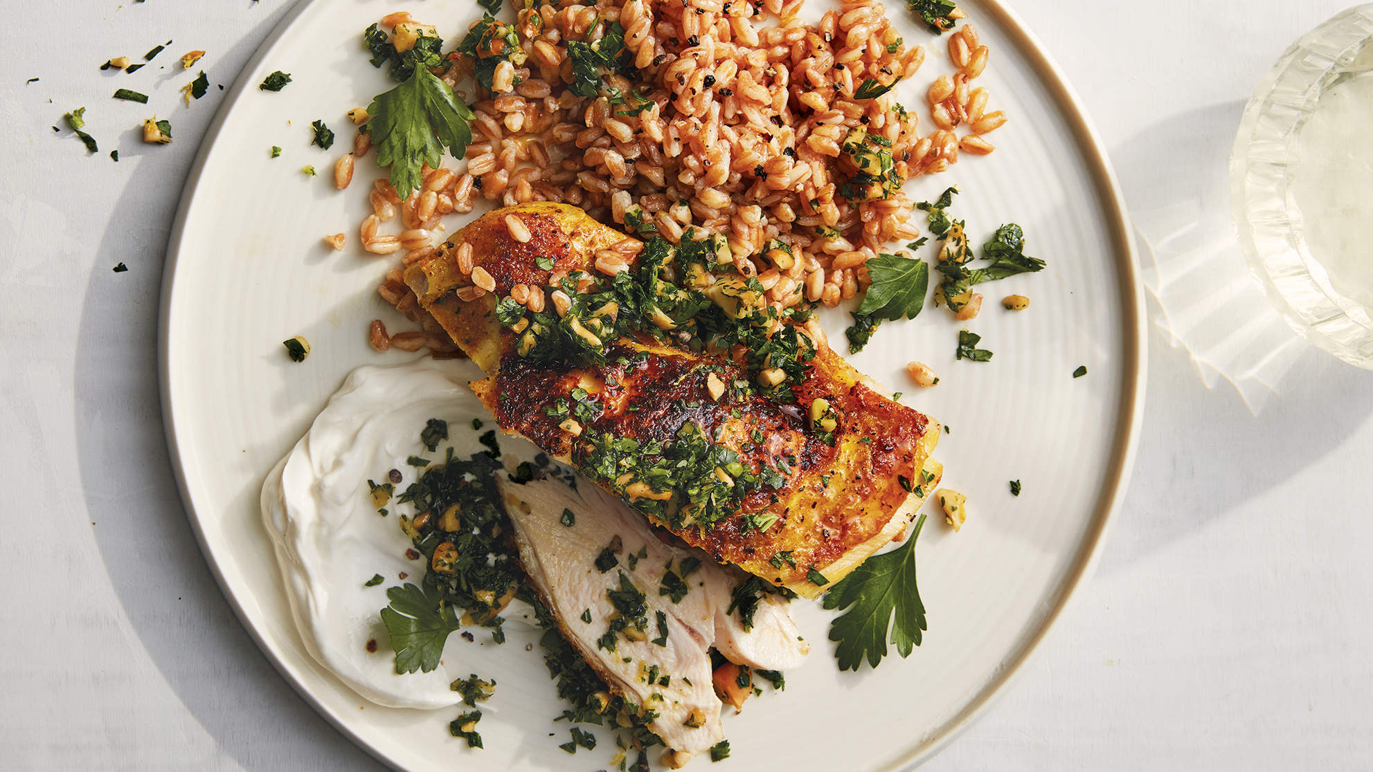 Turmeric Chicken With Farro