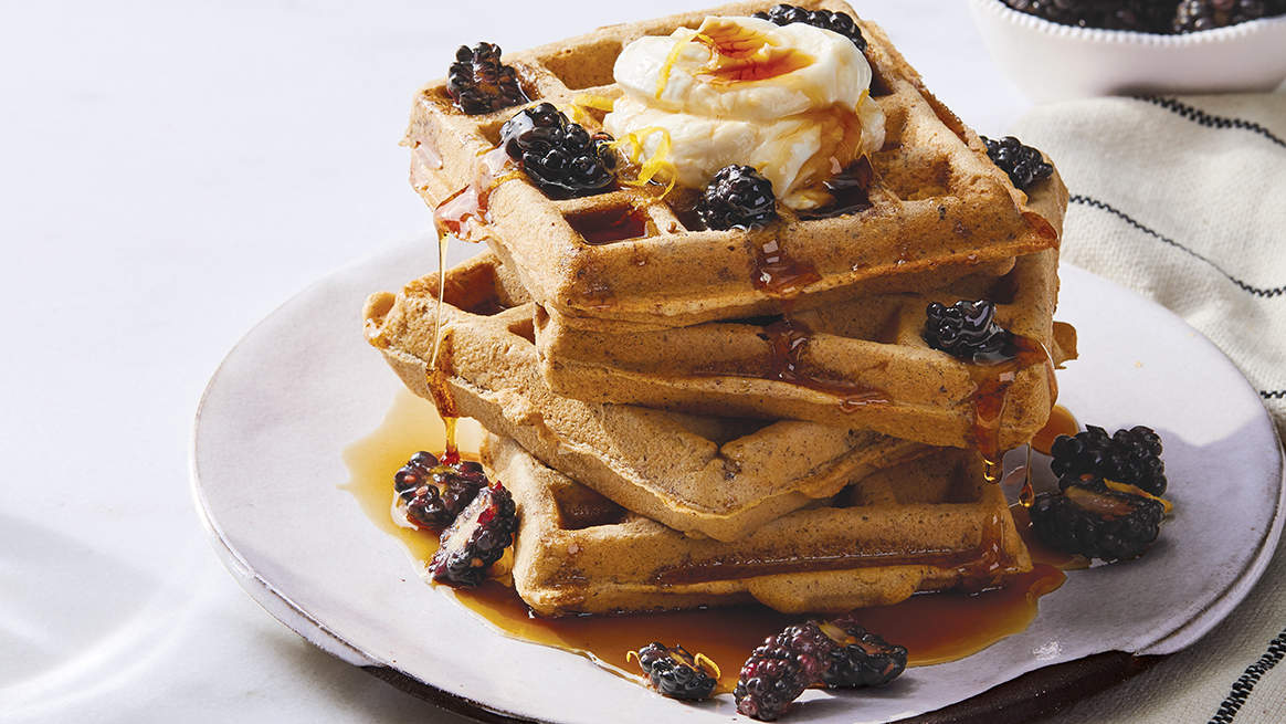 Hazelnut Waffles with Blackberries