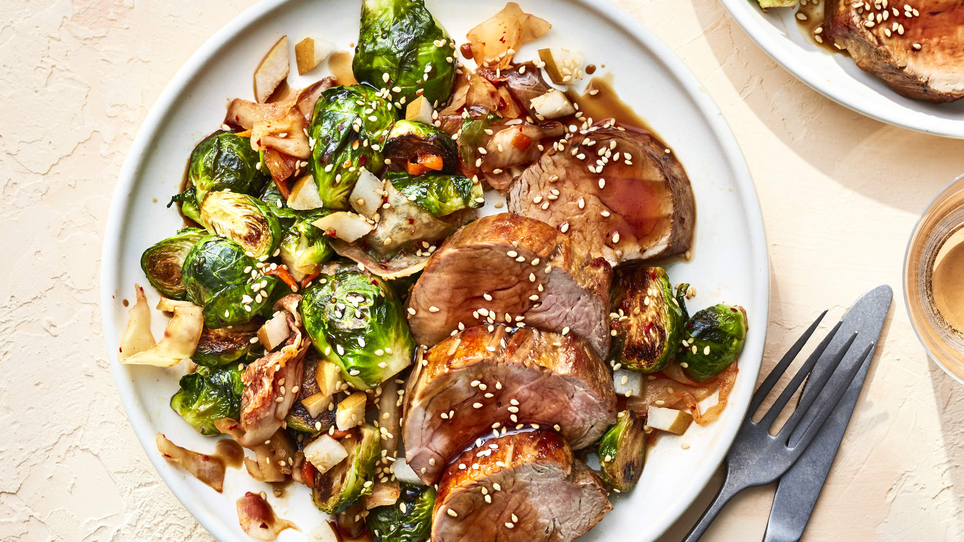 MARCH 2019 health magazine woman diet food recipe  SOY-GLAZED PORK TENDERLOIN WITH KIMCHI BRUSSELS SPROUTS