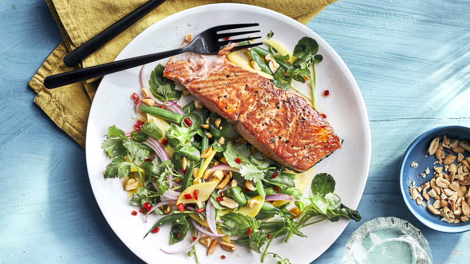 Salmon with Mango-Watercress Salad