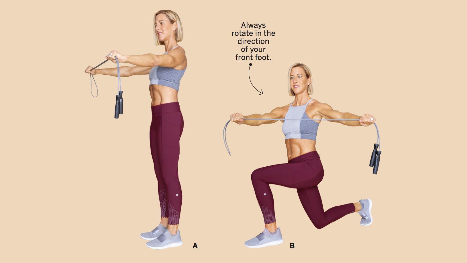 REVERSE LUNGE WITH ROPE ROTATION