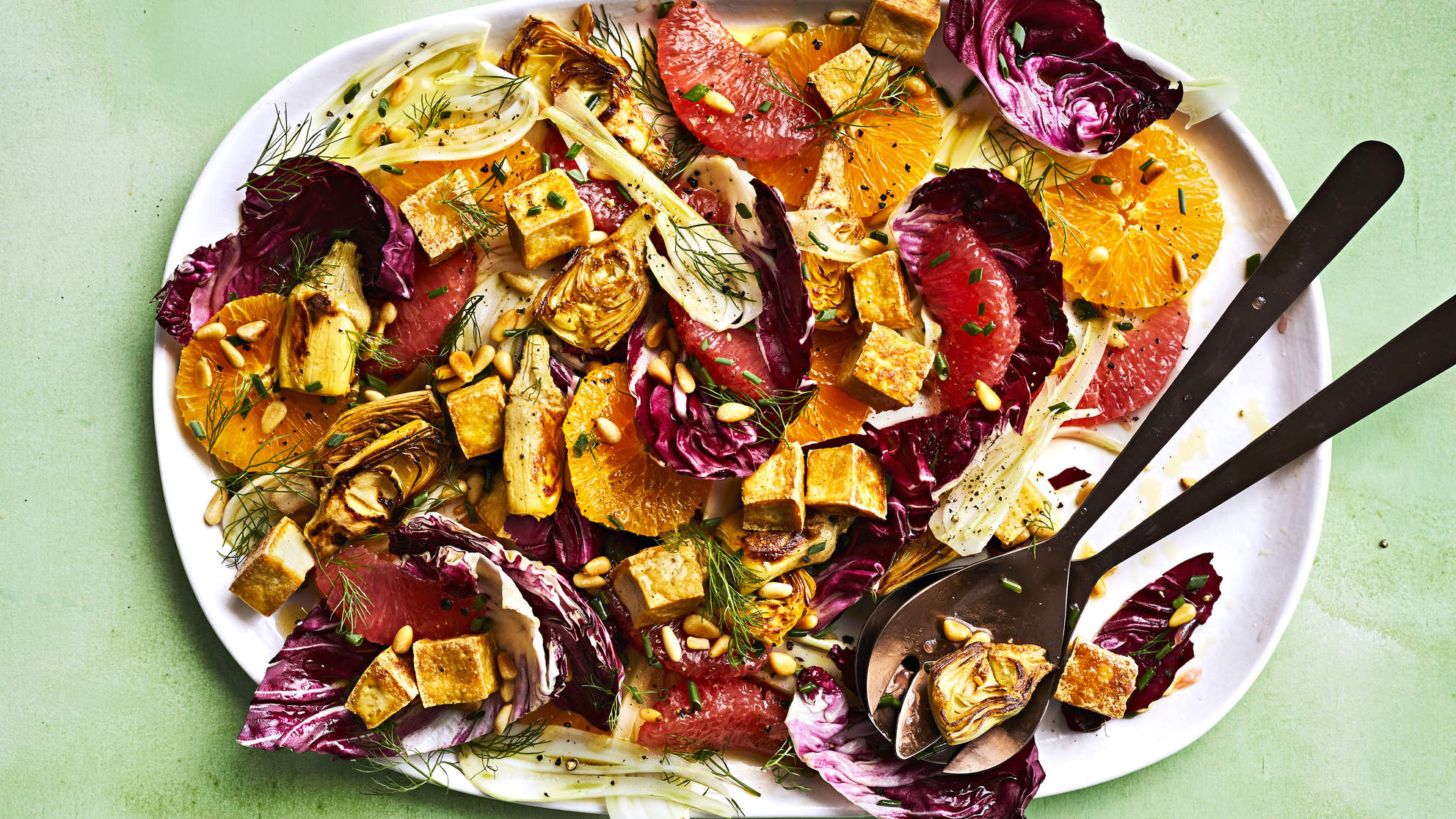 Roasted Tofu and Citrus Artichoke Salad