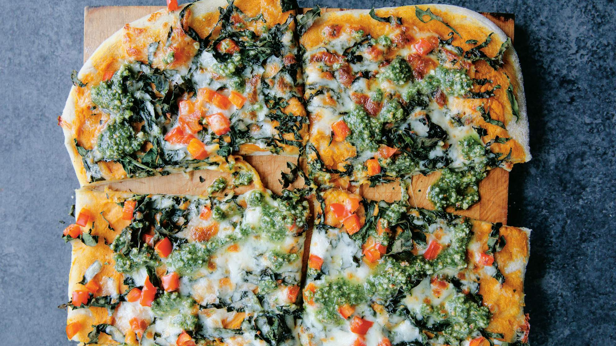 Sweet Potato, Kale, and Parsley Pesto Pizza
