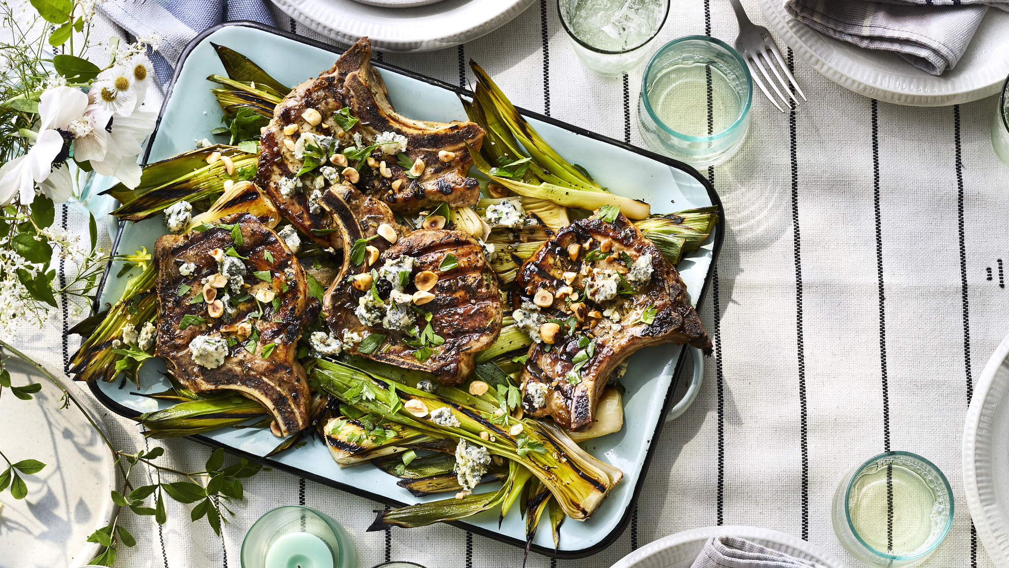 Rosemary Pork Chops With Grilled Leeks