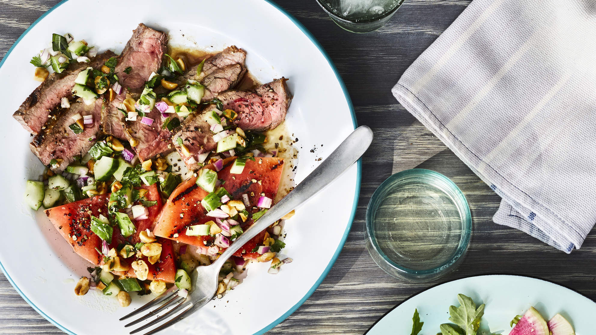 Grilled Flank Steak And Watermelon Salad