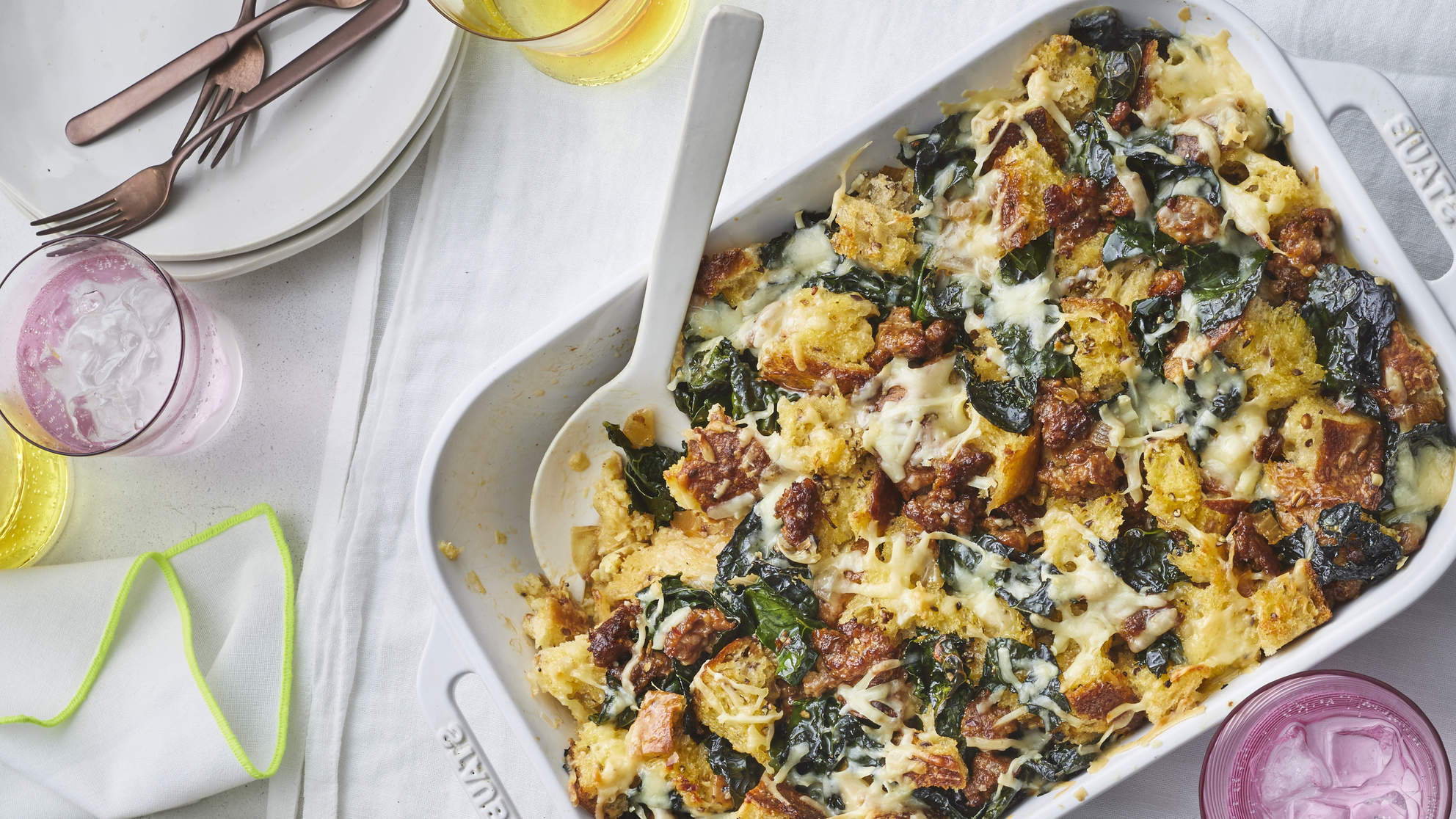sausage-kale-strata-brunch-recipes-health-mag-december-2019