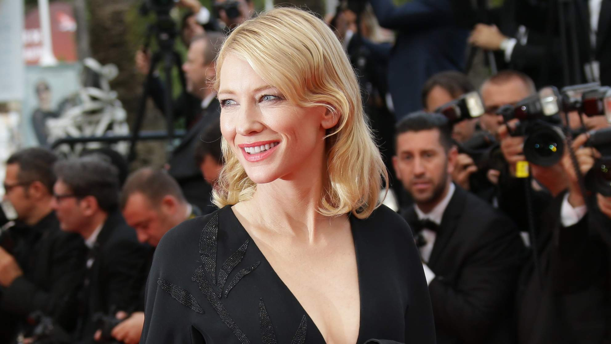 Cate Blanchett poses for photographers upon arrival for the screening of the film Sicario at the 68th international film festival, Cannes, southern France on May 19, 2015.