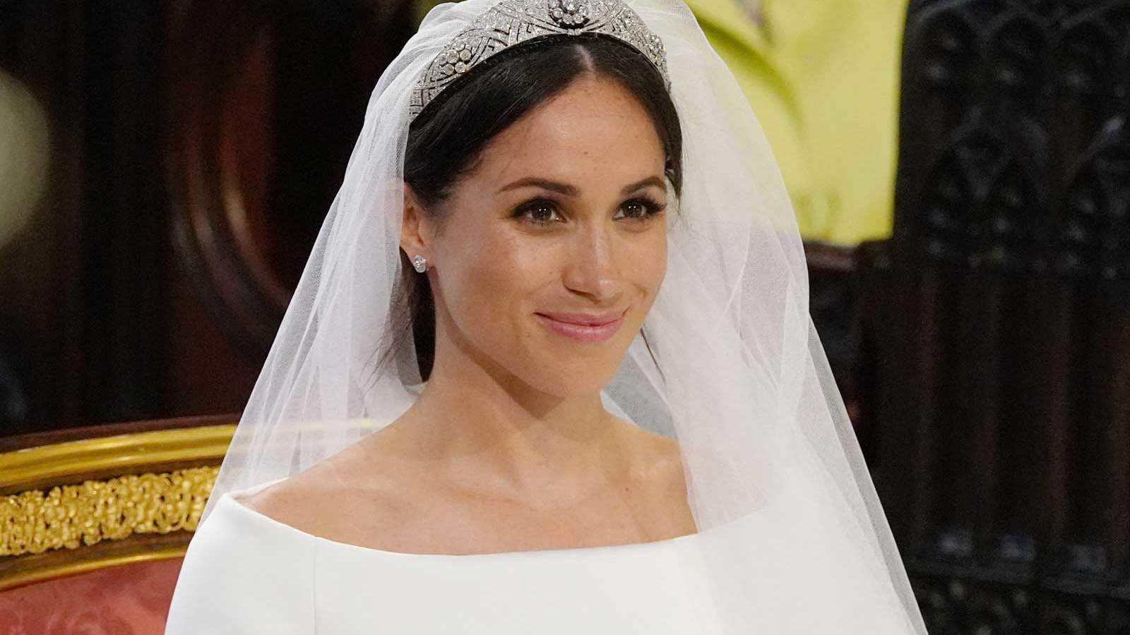 Meghan Markle stands at the altar during her wedding in St George's Chapel at Windsor Castle on May 19, 2018 in Windsor, England.