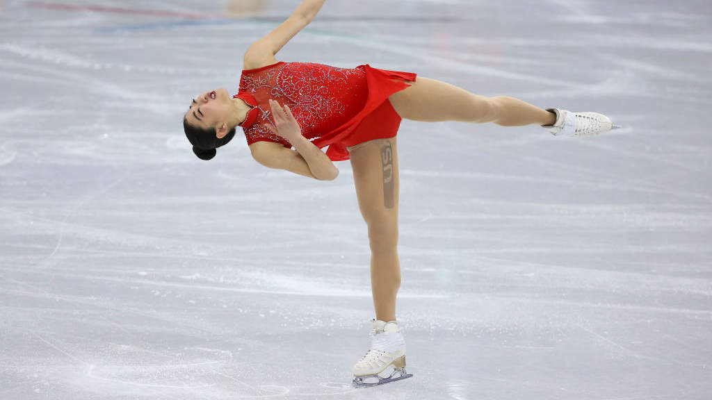 GANGNEUNG, SOUTH KOREA - FEBRUARY 12: Mirai Nagasu of USA competes in the Ladies Free Skating during the Figure Skating Team Event on day three of the PyeongChang 2018 Winter Olympic Games at Gangneung Ice Arena on February 12, 2018 in Gangneung,...