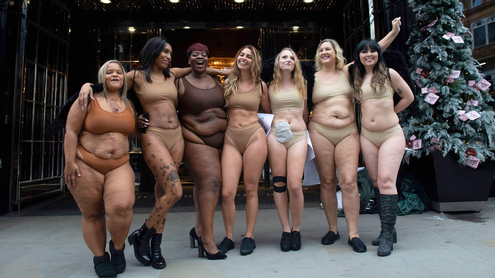 e177ff0d85ad Women Strip Down to Their Underwear to Protest Outside Victoria's Secret  Store in London