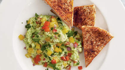 Recipe of the Day: Edamame  Guacamole  with Chile-Dusted Pita Chips