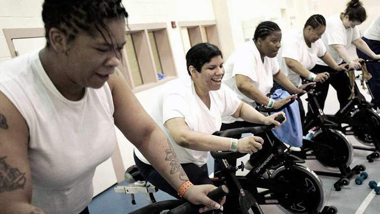 Biking behind bars female inmates battle weight gain health