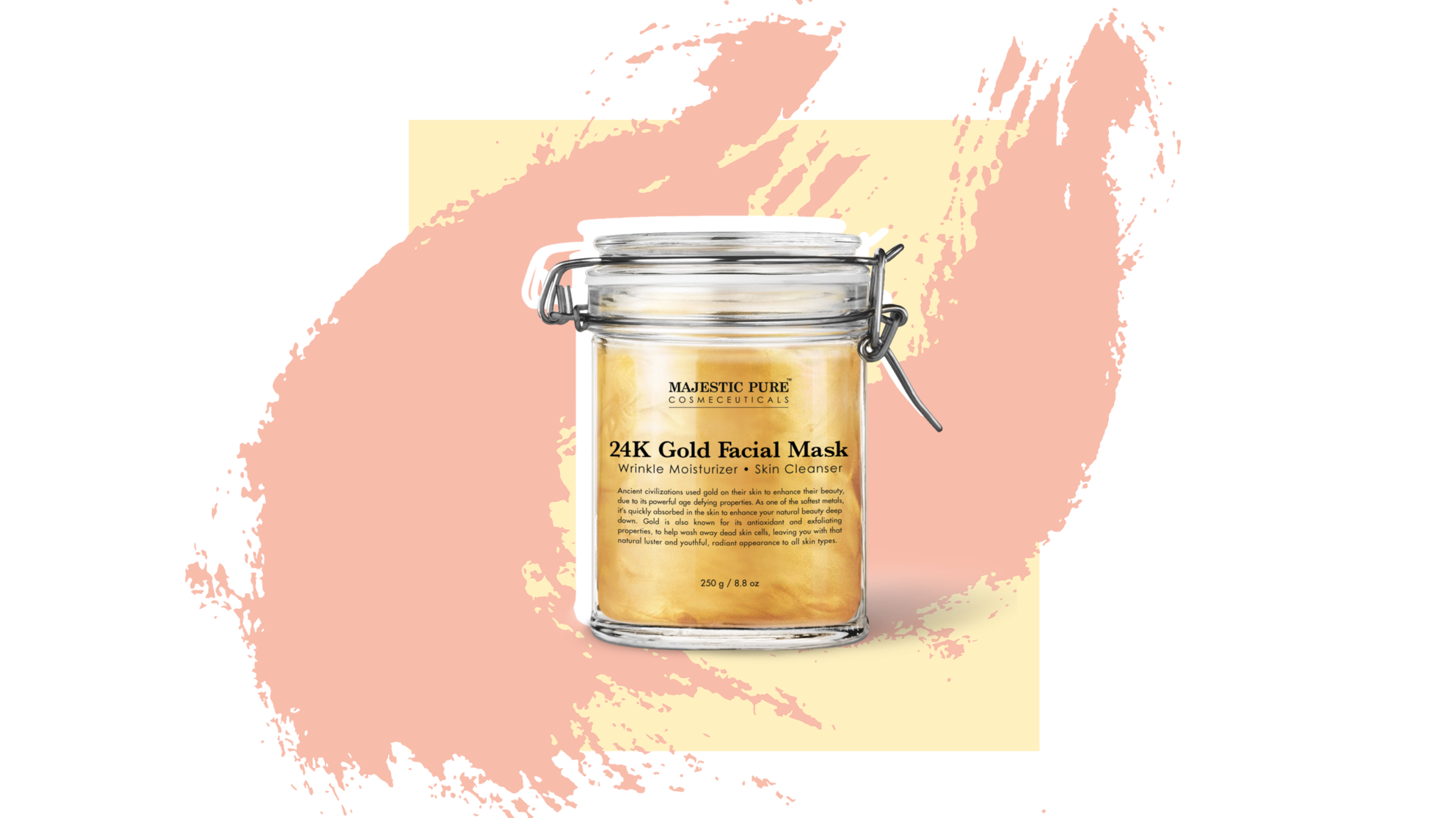 GOLD FACIAL MASK 24k moustirizing beauty product woman skin  Majestic Pure cosmeceuticals