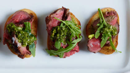 Basque Beef Tenderloin Crostini