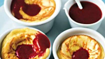 Baked Citrus Custards With Raspberry Sauce