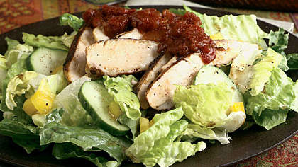 Blackened Chicken Salad with Tomato Chutney