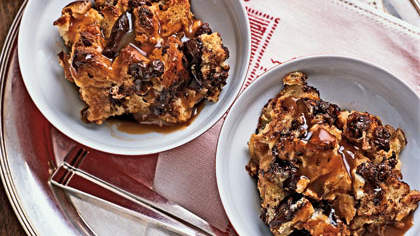 Chocolate Bread Pudding With Caramel Sauce