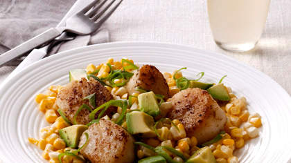 Fresh Corn With Avocado, Scallions, and Spiced Scallops
