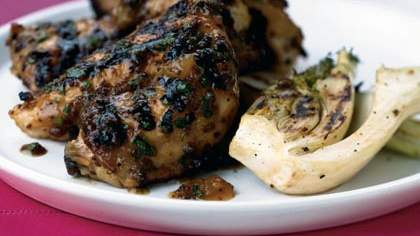Grilled Cornish Hens with Apricot-Mustard Glaze