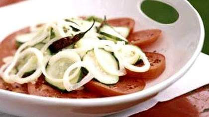 Sweet-Spicy Cucumbers over Tomatoes