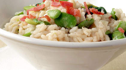 Fava Bean Risotto with Fresh Mozzarella and Prosciutto