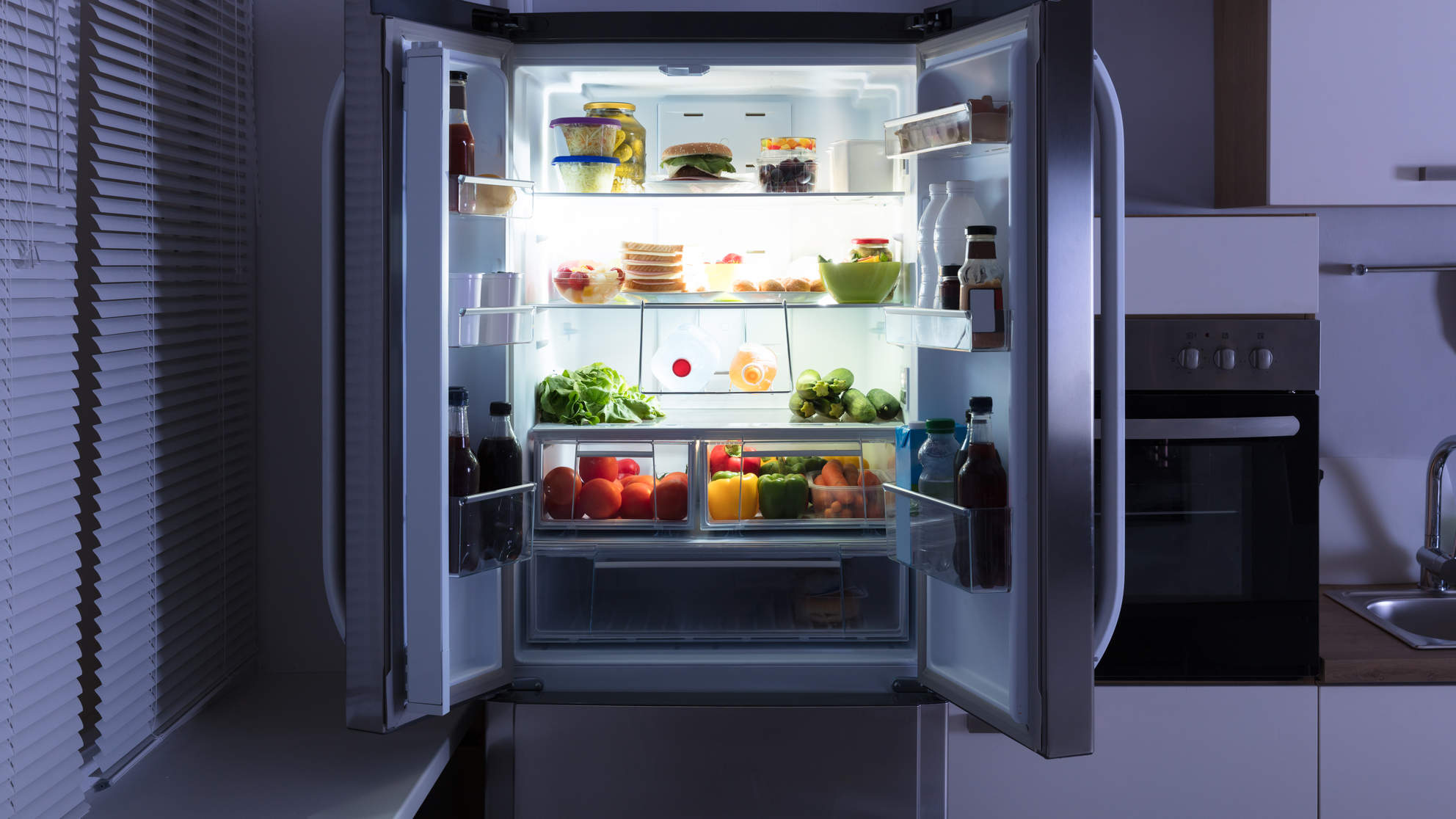 fridge food veggies diet woman health wellbeing