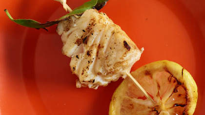 Grilled Halibut, Bay Leaf, and Lemon Kebabs