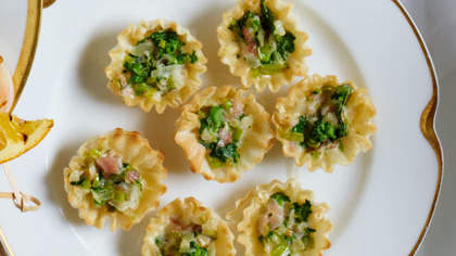 Leek and Broccoli Tartlets with Pancetta