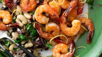 lemon-shrimp-with-warm-bean-salad