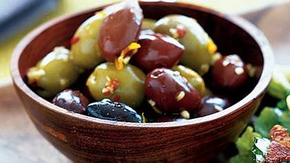 olives and orange peel
