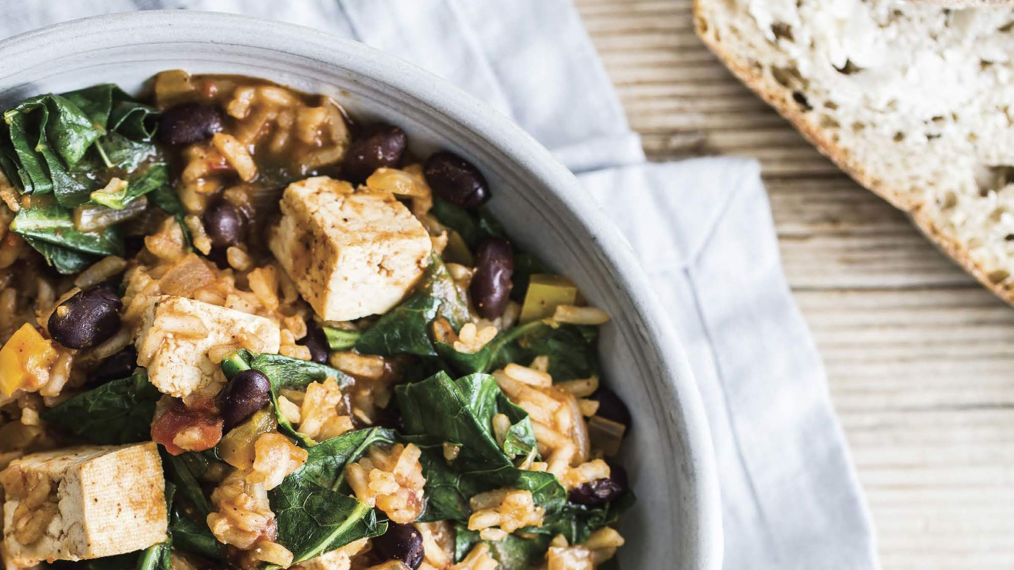 best-one-pot-vegan-recipes-rice-beans-tofu-and-greens