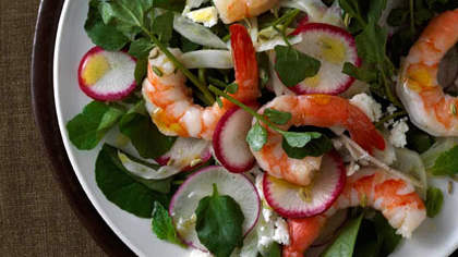 Shrimp with Feta, Radish, Watercress, and Mint