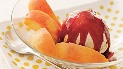 strawberry-studded-mango-sorbet