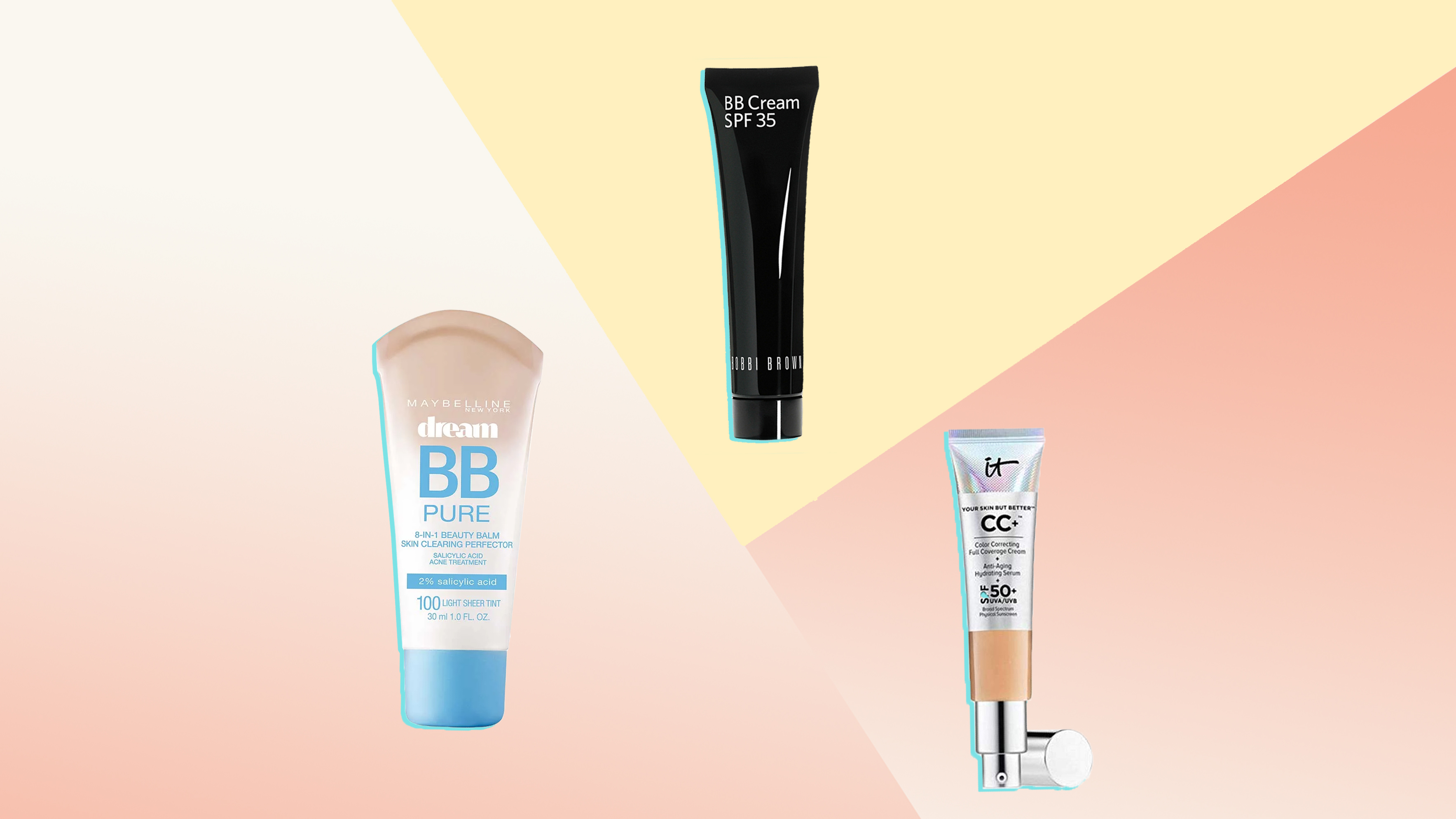 Maybelline Dream Pure BB 8-in-1 Skin Clearing Perfector BB Cream SPF 35 BOBBI BROWN It Cosmetics Your Skin but Better CC Cream with SPF 50 Plus Beauty Woman Women Cosmetics Product