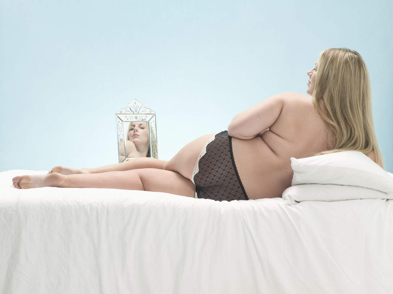 body positive mirror happy fat confidence self image sex sexy underwear